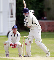 Jack Atchinson bats for North London during the Middlesex County Cricket League Division Three game between North London and Wembley at Park Road, Crouch End on Sat Aug 2, 2014