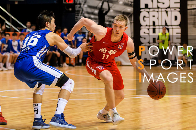 Dominic Robert Gilbert #11 of SCAA Men's Basketball Team dribbles the ball up court against the Eastern Long Lions during the Hong Kong Basketball League playoff game between Eastern Long Lions and SCAA at Queen Elizabeth Stadium on July 24, 2018 in Hong Kong. Photo by Marcio Rodrigo Machado / Power Sport Images