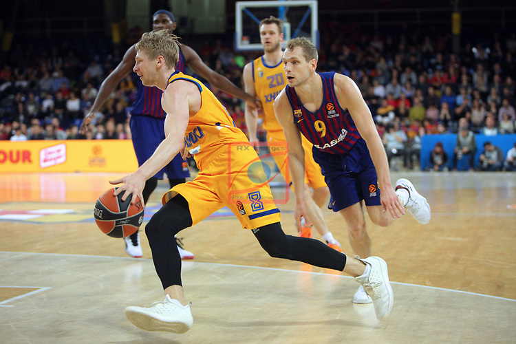 Turkish Airlines Euroleague 2018/2019. <br /> Regular Season-Round 30.<br /> FC Barcelona Lassa vs Khimki Moscow Region: 83-74. <br /> Vyacheslav Zaytsev vs Jaka Blazic.