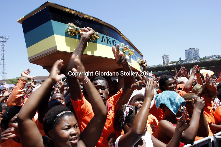 National Freedom Party supporters celebrate at the party's launch of its party manifesto for the 2014 general election by carrying a coffin in the colours of the ruling African National Congress. The party also celebrated the third anniversary of its founding when the Inkatha Freedom Party's national chairwoman Zanele kaMagwaza-Msibi broke away to form the NFP. Picture: Allied Picture Press/APP