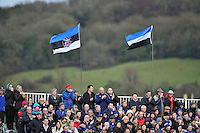 A general view of Bath supporters in the crowd. Aviva Premiership match, between Bath Rugby and Harlequins on December 21, 2013 at the Recreation Ground in Bath, England. Photo by: Patrick Khachfe / Onside Images
