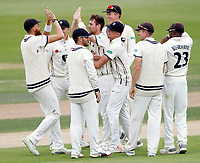 Matt Henry (C) of Kent is mobbed after bowling Alex Wakely during the County Championship Division Two game between Kent and Northants at the St Lawrence ground, Canterbury, on Sept 4, 2018.