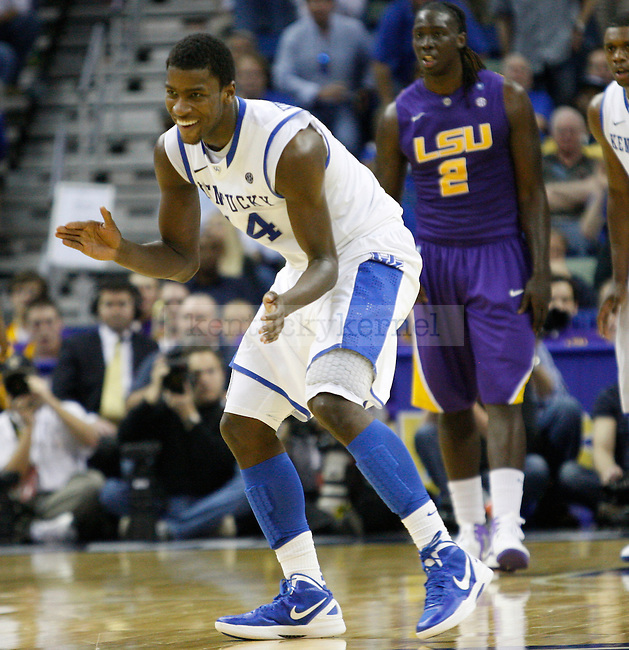 UK forward Michael Kidd-Gilchrist celebrates during the second half in the 2012 SEC Tournament game between Kentucky and LSU, played at the New Orleans Arena, on 3/9/12.  Photo by Quianna Lige | Staff
