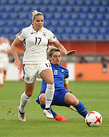 20170721 - TILBURG , NETHERLANDS : German Isabel Kerschowski (L) and Italian Melania Gabbiadini (R)  pictured during the female soccer game between Germany and Italy  , the second game in group B at the Women's Euro 2017 , European Championship in The Netherlands 2017 , Friday 21 th June 2017 at Stadion Koning Willem II  in Tilburg , The Netherlands PHOTO SPORTPIX.BE | DIRK VUYLSTEKE