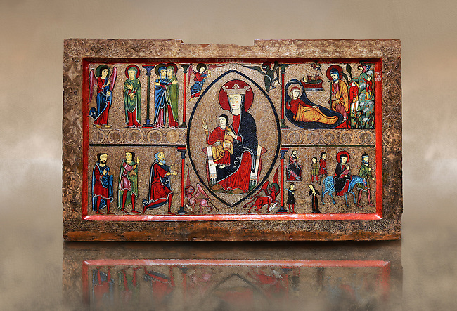 Romanesque Altar Front of Cardet<br /> <br /> Thirteenth century paint and metal relief on wood from a church of Santa Maria of Cardet, Vall de Boi, Alta Ribagorca, Spain<br /> <br /> Acquired by the National Art Museum of Catalonia, Barcelona 1932. Ref: MNAC 3903.<br /> <br /> <br /> This Romanesque painted altar front is dedicated to the Nativity. At is centre is a painting of The Madonna and Child surrounded by a mandorla. Top left shows the Annunciation with the Virgin Mary, top left depicts the nativity scene, bottom left shows the Three Kings and bottom left shows The Flight to Egypt.
