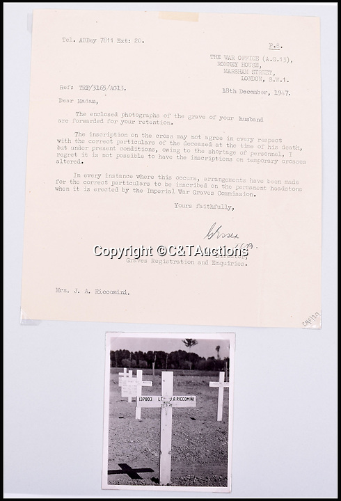 BNPS.co.uk (01202 558833)Pic: C&TAuctions/BNPS<br /> <br /> A letter addressed to Mrs Riccomini after Lieutenant James Riccomini MBE death. The photograph shows Lieutenant Riccomini's grave.<br /> <br /> The remarkable story of an SAS hero who escaped captivity by jumping out of a moving train and carried out daring raids behind enemy lines before he was killed storming a German stronghold can be told after his bravery medals emerged for sale.<br /> <br /> After escaping his German captors, Lieutenant James Riccomini MBE spent four months assisting Italian resistance fighters with ammunition drops and intelligence gathering before scaling the Alps to reach neutral Switzerland when his cover was blown.<br /> <br /> Ten months later, he was dropped behind enemy lines and led a fearless ambush of a German armoured column before he was killed in action heading up an assault during the legendary Operation Tombola.<br /> <br /> His MBE, Military Cross and other medals along with letters he wrote to his wife, documents and photos are tipped to sell for £12,000.