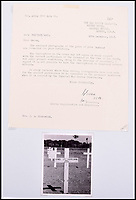BNPS.co.uk (01202 558833)Pic: C&amp;TAuctions/BNPS<br /> <br /> A letter addressed to Mrs Riccomini after Lieutenant James Riccomini MBE death. The photograph shows Lieutenant Riccomini's grave.<br /> <br /> The remarkable story of an SAS hero who escaped captivity by jumping out of a moving train and carried out daring raids behind enemy lines before he was killed storming a German stronghold can be told after his bravery medals emerged for sale.<br /> <br /> After escaping his German captors, Lieutenant James Riccomini MBE spent four months assisting Italian resistance fighters with ammunition drops and intelligence gathering before scaling the Alps to reach neutral Switzerland when his cover was blown.<br /> <br /> Ten months later, he was dropped behind enemy lines and led a fearless ambush of a German armoured column before he was killed in action heading up an assault during the legendary Operation Tombola.<br /> <br /> His MBE, Military Cross and other medals along with letters he wrote to his wife, documents and photos are tipped to sell for &pound;12,000.