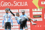 Delko Marseilles Provence KTM team at sign on before the start of Stage 3 of Il Giro di Sicilia running 186km from Caltanissetta to Ragusa, Italy. 5th April 2019.<br /> Picture: LaPresse/Fabio Ferrari | Cyclefile<br /> <br /> <br /> All photos usage must carry mandatory copyright credit (&copy; Cyclefile | LaPresse/Fabio Ferrari)