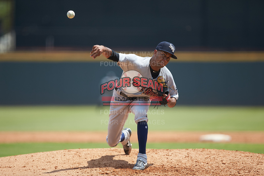 Scranton/Wilkes-Barre RailRiders starting pitcher Adonis Rosa (23) delivers a pitch to the plate against the Gwinnett Stripers at Coolray Field on August 18, 2019 in Lawrenceville, Georgia. The RailRiders defeated the Stripers 9-3. (Brian Westerholt/Four Seam Images)