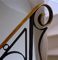 Detail of the curved end of a metal balustrade