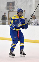Delaware's Ethan Docking (32) celebrates after Ryan Burns's third period goal. Delaware defeated Navy 8-3 at McMullen Hockey Arena.<br /> <br /> Photo by Randy Litzinger