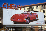 Chevrolet Corvette billboard on the Sunset Strip in Los Angeles circa 1986