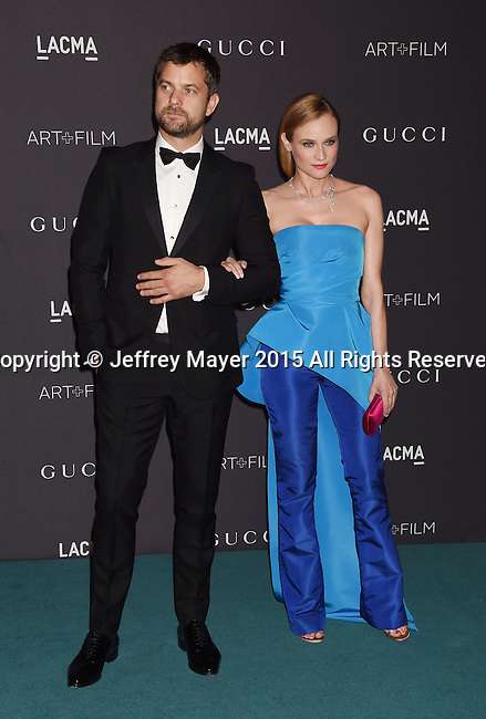 LOS ANGELES, CA - NOVEMBER 07: Actors Joshua Jackson (L) and Diane Kruger attend LACMA 2015 Art+Film Gala Honoring James Turrell and Alejandro G Iñárritu, Presented by Gucci at LACMA on November 7, 2015 in Los Angeles, California.