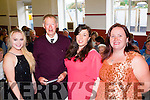 Festival<br /> ----------<br /> Micheal O'Muircheartaigh officially opened the 2015 Feile Lughnasa in the Halla Cheile,Brandon last Friday night,also pictured is L-R Evangeline Ni Dhubhda,Festival Queen,Cathriona Ni Churrain and Tabitha Overy both organisers