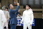11 February 2017: Duke's Connor Ghazaleh has his sword checked before his Epee match. The Duke University Blue Devils hosted the Boston College Eagles at Card Gym in Durham, North Carolina in a 2017 College Men's Fencing match. Duke won the dual match 18-9 overall, 9-0 Foil, and 6-3 Saber. Boston College won Epee 6-3.