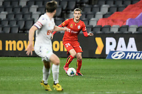 30th July 2020; Bankwest Stadium, Parramatta, New South Wales, Australia; A League Football, Adelaide United versus Perth Glory; Ben Halloran of Adelaide United runs forward with the ball covered by Alex Grant of Perth Glory