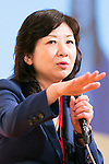 Japanese politician Seiko Noda speaks during the 21st International Conference for Women in Business at Grand Nikko Tokyo Daiba on July 18, 2016, Tokyo, Japan. 55 guest speakers, principally female leaders, gathered to discuss the roles of women in politics, business and society. (Photo by Rodrigo Reyes Marin/AFLO)