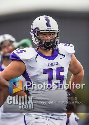 8 October 2016: Amherst College Purple & White Offensive Lineman Brantley Mayers, a Sophomore from Ponte Vedra Beach, FL, is attentive to coaching on the sidelines during a game against the Middlebury College Panthers at Alumni Stadium in Middlebury, Vermont. The Panthers edged out the Purple & While 27-26. Mandatory Credit: Ed Wolfstein Photo *** RAW (NEF) Image File Available ***