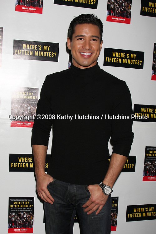 """Mario Lopez.Howard Bragman's Book Party for """"Where's My Fifteen Minutes"""" at the Chateau Marmont Hotel in West Los Angeles, CA on .January 14, 2009.©2008 Kathy Hutchins / Hutchins Photo..                ."""