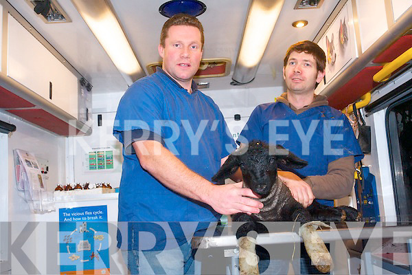 Kenmare Veterinary Centre have taken to the road with a mobile clinic to bring their services to rural parts of Kerry. .L-R Vets Henk Offereins and Francois Walch with 'Caster' . .