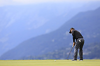 Fabrizio Zanotti (AUS) takes his putt on the 7th green during Sunday's Final Round of the 2017 Omega European Masters held at Golf Club Crans-Sur-Sierre, Crans Montana, Switzerland. 10th September 2017.<br /> Picture: Eoin Clarke | Golffile<br /> <br /> <br /> All photos usage must carry mandatory copyright credit (&copy; Golffile | Eoin Clarke)