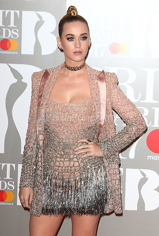 Katy Perry at The BRIT Awards 2017 at The O2, Peninsula Square, London on February 22nd 2017<br /> CAP/ROS<br /> &copy; Steve Ross/Capital Pictures /MediaPunch ***NORTH AND SOUTH AMERICAS ONLY***