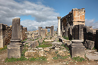 The House of the Dog, where a bronze canine statue was found, and the Triumphal Arch of Caracalla behind, built 217 AD by the city's governor Marcus Aurelius Sebastenus in honour of Emperor Caracalla, 188-217 AD, and his mother Julia Domna, Volubilis, Northern Morocco. This house is based around a peristyle courtyard with central pool, around which are the living and sleeping rooms. Volubilis was founded in the 3rd century BC by the Phoenicians and was a Roman settlement from the 1st century AD. Volubilis was a thriving Roman olive growing town until 280 AD and was settled until the 11th century. The buildings were largely destroyed by an earthquake in the 18th century and have since been excavated and partly restored. Volubilis was listed as a UNESCO World Heritage Site in 1997. Picture by Manuel Cohen