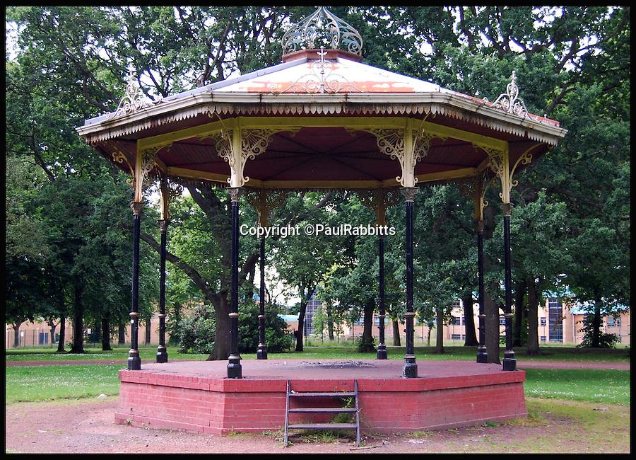 BNPS.co.uk (01202 558833)<br /> Pic: PaulRabbitts/BNPS<br /> <br /> ***Please Use Full Byline***<br /> <br /> The bandstand in Whitehill Park, Hamilton, still exists today and was built in 1912.<br /> <br /> A landscape gardener is trumpeting the great British creation of the bandstand after touring the country's parks to study the iconic structures for a new book.<br /> <br /> Paul Rabbitts' work is a celebration of the Victorian platforms and a throwback to the halycon days of outdoor music when thousands of people would gather in public parks for a brass band performance.