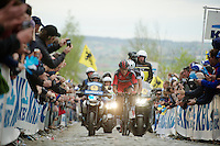 Greg Van Avermaet (BEL/BMC) with Stijn Vandenbergh (BEL/OPQS) in his wheel up the Oude Kwaremont for the 3rd &amp; last time today<br /> <br /> <br /> Ronde van Vlaanderen 2014