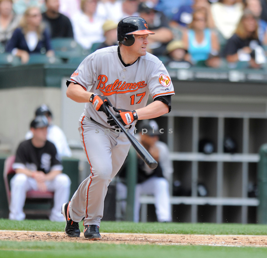 AUBREY HUFF, of the Baltimore Orioles , in action  during the Orioles game against the Chicago White Sox,   on July 19, 2009 in Chicago, IL  The Orioles beat  the White Sox 10-2.