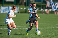 Kansas City, MO - Sunday September 11, 2016: Caroline Kastor, Katie Naughton during a regular season National Women's Soccer League (NWSL) match between FC Kansas City and the Chicago Red Stars at Swope Soccer Village.