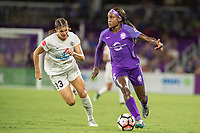 Orlando, FL - Saturday July 15, 2017: Brittany Taylor, Chioma Ubogagu during a regular season National Women's Soccer League (NWSL) match between the Orlando Pride and FC Kansas City at Orlando City Stadium.