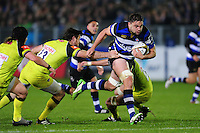Elliott Stooke of Bath Rugby takes on the Leicester Tigers defence. Anglo-Welsh Cup match, between Bath Rugby and Leicester Tigers on November 4, 2016 at the Recreation Ground in Bath, England. Photo by: Patrick Khachfe / Onside Images