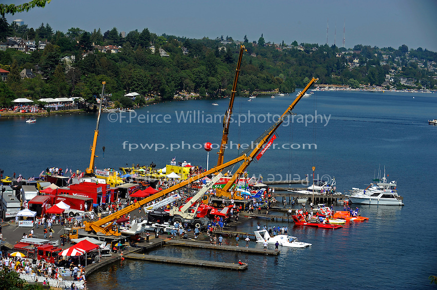 Boats prepare to launch from the Stan Sayres pits on Lake Washington...1-2 August, 2009 Seattle, Washington USA..©2009 F.Peirce Williams USA..