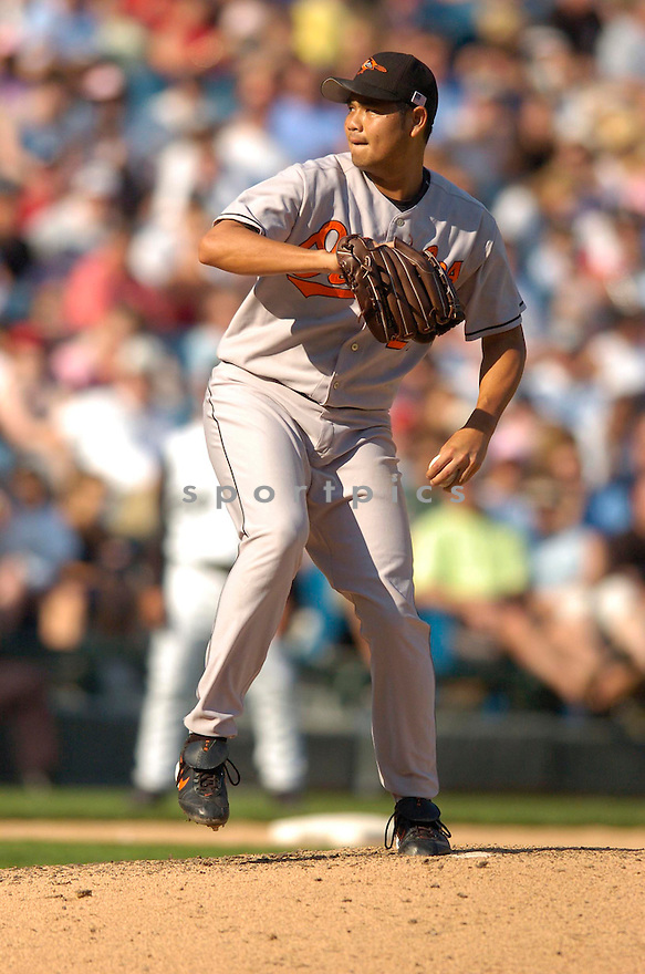 Bruce Chen, of the Baltimore Orioles, during their game against the Chicago White Sox on July 4, 2006 in Chicago.....Chris Bernacchi / SportPics