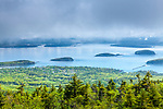 Clearing fog over Frenchman Bay from Cadillac Mountain in Acadia National Park, Maine, USA