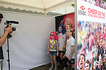 Visitors record their good luck messages at the video booth at the Sevens Village during the HSBC Hong Kong Rugby Sevens 2016 on 07 April 2016 at Hong Kong Stadium in Hong Kong, China. Photo by Kitmin Lee / Power Sport Images