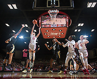 Stanford, CA - January 24, 2020: Lexie Hull, Nadia Fingall, Ashten Prechtel at Maples Pavilion. The Stanford Cardinal defeated the Colorado Buffaloes in overtime, 76-68.