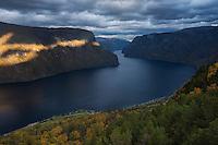 Dramatic light over Aurlandsfjord, Aurland, Sogn og Fjordane, Norway
