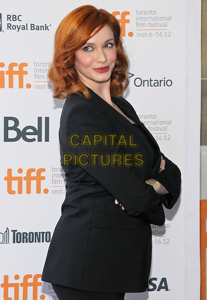 "Christina Hendricks.""American Beauty""  Premiere - 2012 Toronto International Film Festival held at Ryerson Theatre, Toronto, Ontario, Canada..September 6th, 2012.TIFF half length black suit blazer arms crossed side .CAP/ADM/BPC.©Brent Perniac/AdMedia/Capital Pictures."