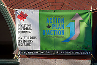 "A Government of Canada ""Canada's economic Action Plan d'Action"" banner and advertising is pictured in Winnipeg Wednesday May 25, 2011."