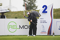 Darren Clarke (NIR) on the 2nd tee during Round 2 of the D+D Real Czech Masters at the Albatross Golf Resort, Prague, Czech Rep. 01/09/2017<br /> Picture: Golffile | Thos Caffrey<br /> <br /> <br /> All photo usage must carry mandatory copyright credit     (&copy; Golffile | Thos Caffrey)