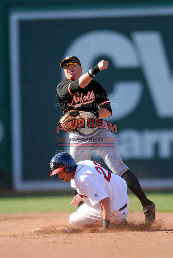 Norfolk Tides 2B, Justin Turner, turning two vs the Pawtucket Red Sox during the Futures at Fenway event at Fenway Park in Boston, MA on August 8, 2009. Pawtucket's SS, Zack Borowiak is the runner. (Photo by Ken Babbitt/Four Seam Images)