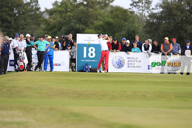 Maverick McNealy (USA) during the afternoon singles for the Walker cup Royal Lytham St Annes, Lytham St Annes, Lancashire, England. 13/09/2015<br /> Picture Golffile | Fran Caffrey<br /> <br /> <br /> All photo usage must carry mandatory copyright credit (&copy; Golffile | Fran Caffrey)
