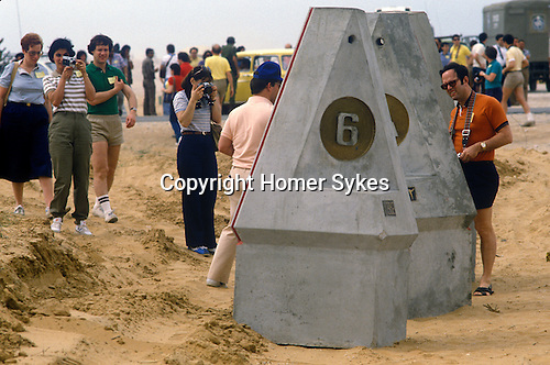 Israel 1982 New Israel Egyptian  border  in the Sinai desert  near Rafah. Tourist come and inspect.