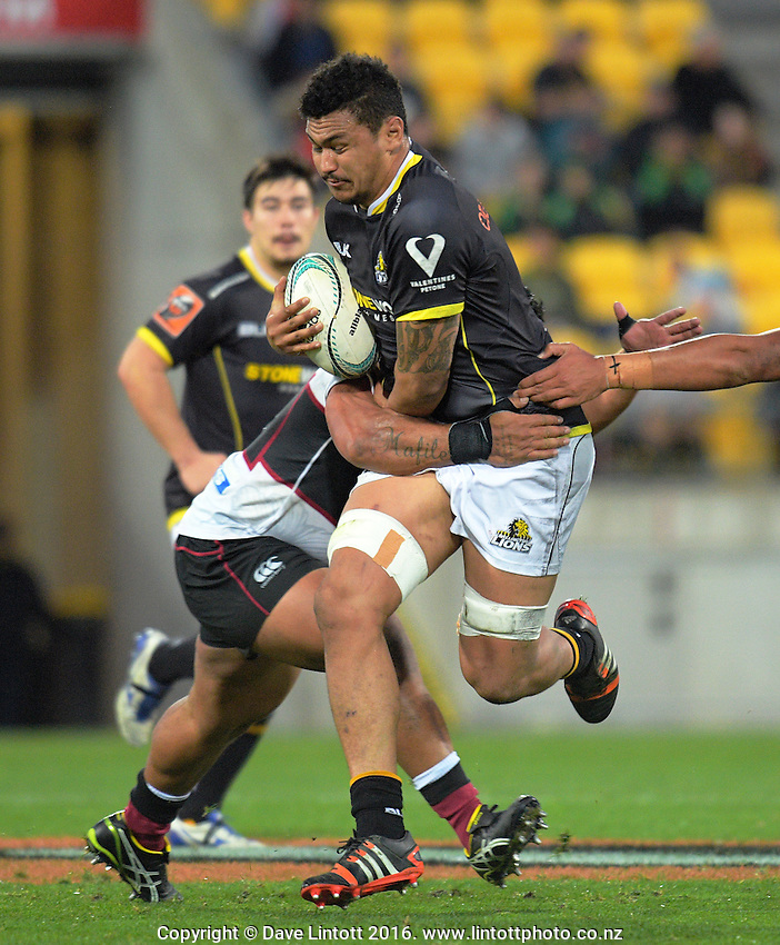 Isaia Walker-Leawere in action during the Mitre 10 Cup rugby union match between Wellington Lions and North Harbour at Westpac Stadium, Wellington, New Zealand on Saturday, 3 September 2016. Photo: Dave Lintott / lintottphoto.co.nz