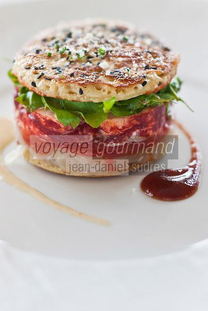 Europe/France/Pays de la Loire/44/Loire Atlantique/Nantes:  Burger de Homard breton,  Recette de Jean-Yves Guého   du restaurant: L'Atlantide