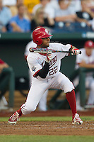 Indiana Hoosiers outfielder Justin Cureton (22) squares to bunt against the Mississippi State Bulldogs during Game 6 of the 2013 Men's College World Series on June 17, 2013 at TD Ameritrade Park in Omaha, Nebraska. The Bulldogs defeated Hoosiers 5-4. (Andrew Woolley/Four Seam Images)