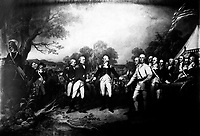 The Surrender of General Burgoyne at Saratoga.  October 1777.  Copy of painting by John Trumbull, 1820-21. (Dept. of Agriculture)<br />