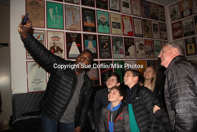 """All My Children's Norm Lewis stars in the musical  The Music Man as """"Harold Hill"""" and poses with castmate Sam Middleton """"Winthrop Paroo"""" (front) at the Eisenhower Theater at the  John F. Kennedy Center for the Performing Arts, Washington D.C. in a sold out run and photos were taken on February 10, 2019 in the green room.  (Photo by Sue Coflin/Max Photo)"""